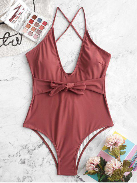 buy ZAFUL Belted Lace Up One-piece Swimsuit - CHERRY RED S Mobile
