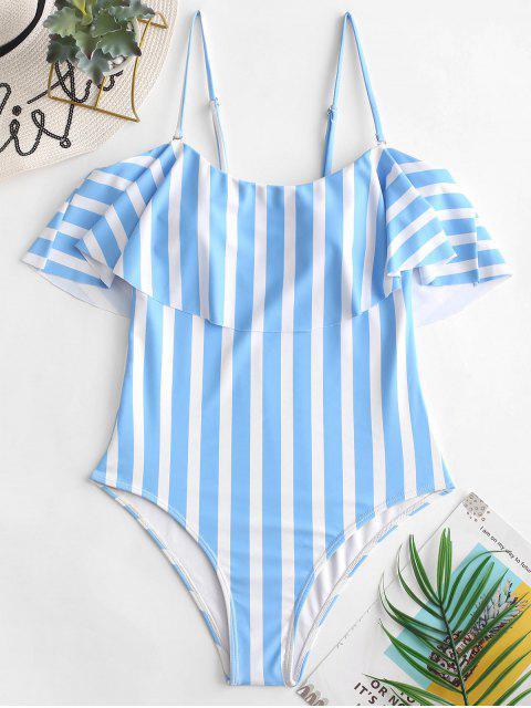 fashion ZAFUL Striped Cami Flounce One-piece Swimsuit - DAY SKY BLUE L Mobile