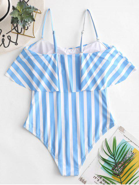 online ZAFUL Striped Cami Flounce One-piece Swimsuit - DAY SKY BLUE XL Mobile