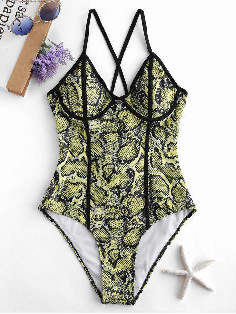 unique ZAFUL Snakeskin Print Crisscross Underwire Swimsuit - TEA GREEN M Mobile