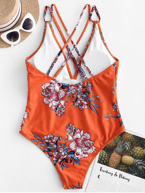womens ZAFUL Dual Strap Crisscross Floral One-piece Swimsuit - PUMPKIN ORANGE S Mobile