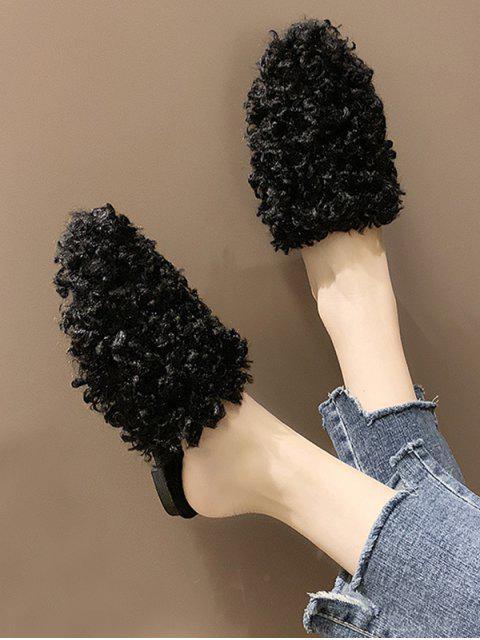 Chaussures Plates Bride au Dos en Fausse Fourrure - Noir EU 39 Mobile
