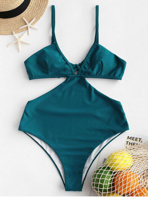 ZAFUL traje de baño Monokini sin espalda con cuello anudado - Azul Eléctrico XL Mobile