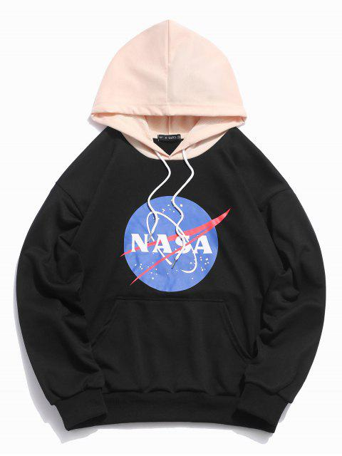lady ZAFUL Graphic Letter Print Color Block Hoodie - BLACK S Mobile