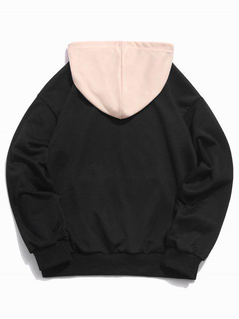 outfits ZAFUL Graphic Letter Print Color Block Hoodie - BLACK XL Mobile