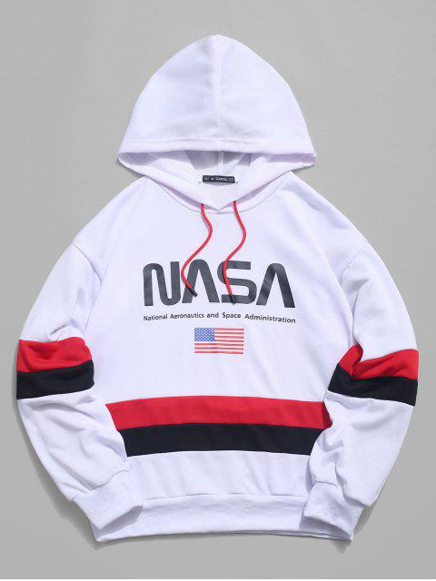 shops ZAFUL American Flag Color Blocking Letter Print Hoodie - WHITE M Mobile