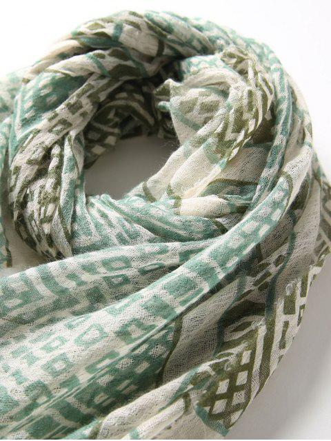 unique Ethnic Geometric Print Long Silk Scarf - LIGHT GREEN  Mobile