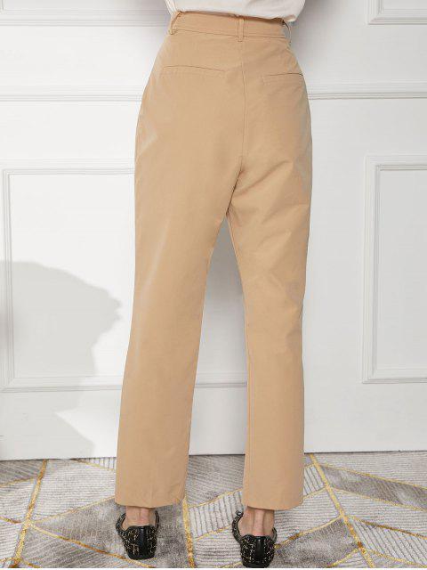 Pantalones lápiz de trabajo de bolsillo de cintura alta - Albaricoque XL Mobile