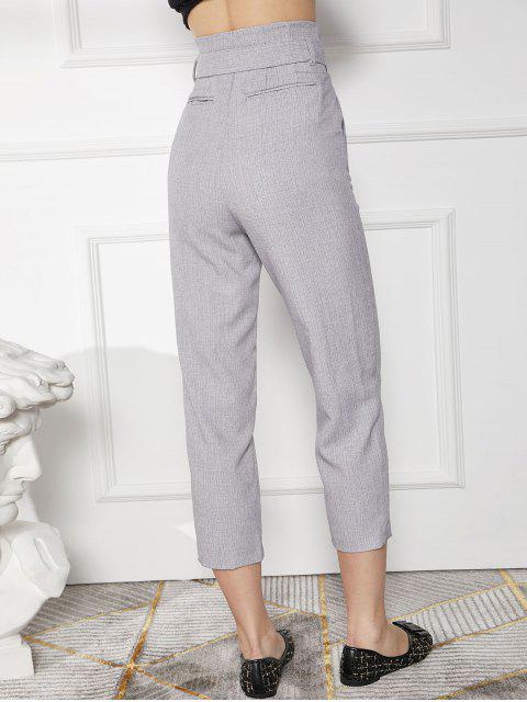 Pantalones de lápiz de trabajo con cinturón de bolsillo de cintura alta - Gris XL Mobile