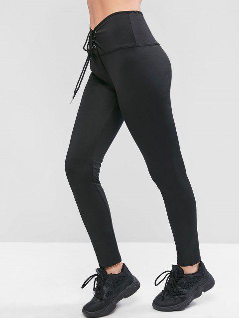 ladies Solid Lace Up Pull On Leggings - BLACK L Mobile