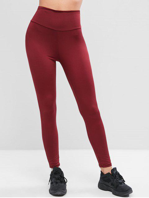 outfits High Waisted Cross Back Skinny Leggings - RED WINE S Mobile