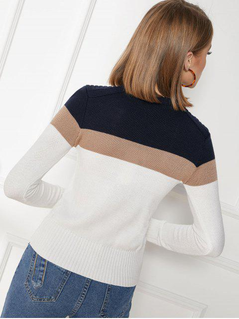 online Contrast Color Block Crew Neck Ribbed Hem Sweater - MULTI-A M Mobile