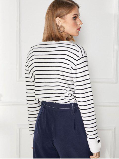 fashion Cuff Sleeve Buttoned Striped Knitted Sweater - MULTI-A L Mobile