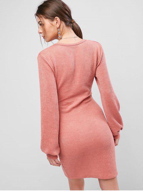 Robe Moulante Superposée Nouée en Avant à Manches Lanternes - Rose Pastèque XL Mobile