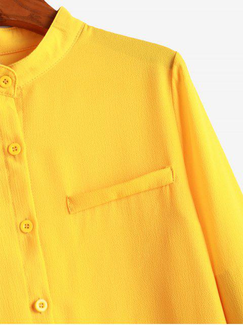 fashion Crew Neck Plain Button Up Work Shirt - BRIGHT YELLOW M Mobile