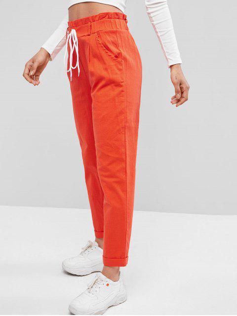 ロールフリルハイウエストポケットパンツ - ダークオレンジ S Mobile