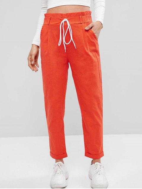 Pantalones de bolsillo de cintura alta con volantes enrollados - Naranja Oscuro M Mobile