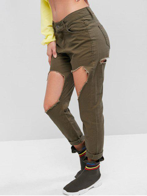 trendy Solid Destroyed Cut Out Tapered Pants - ARMY GREEN L Mobile