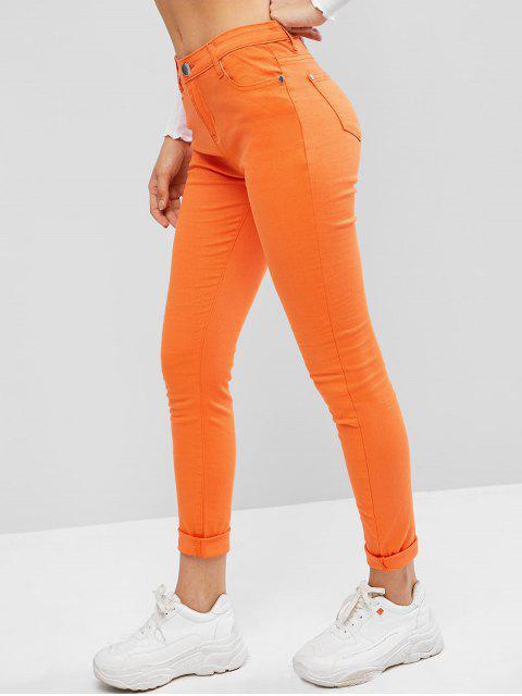 Pantalones pitillo de tiro medio - Naranja Oscuro XS Mobile