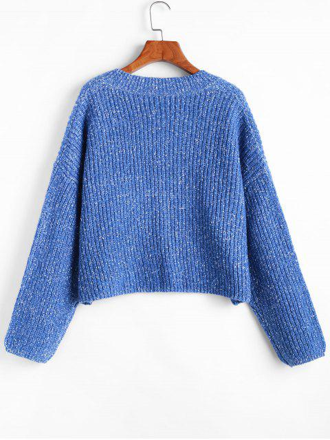 women's ZAFUL V Neck Heathered Crop Loose Sweater - BLUEBERRY BLUE L Mobile