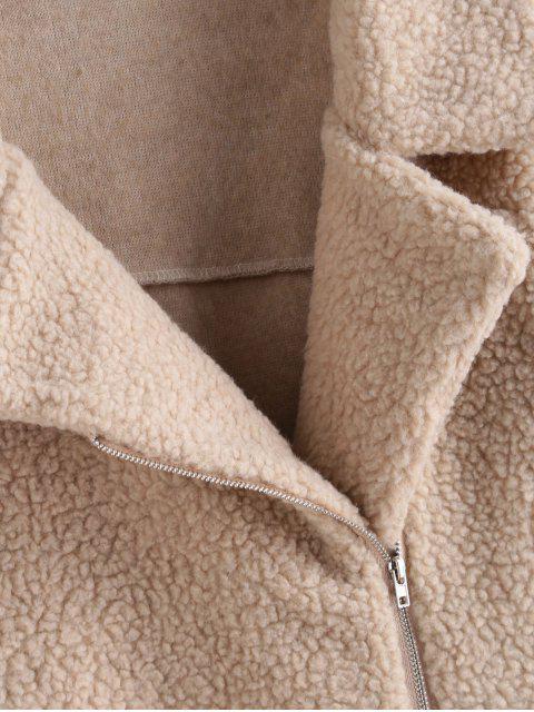 Manteau Tunique Zippé Fourré avec Poche - Kaki Léger XL Mobile