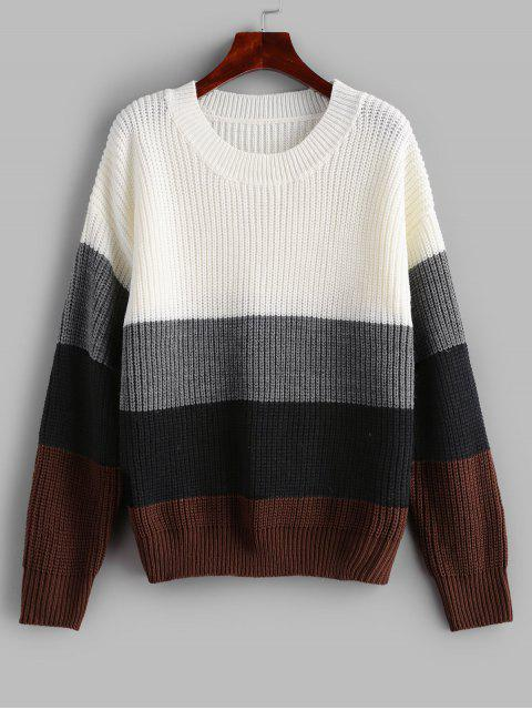 lady ZAFUL Crew Neck Loose Color Block Sweater - MULTI S Mobile
