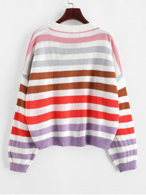 sale Contrast Striped Loose Crew Neck Sweater - ROSSO RED M Mobile