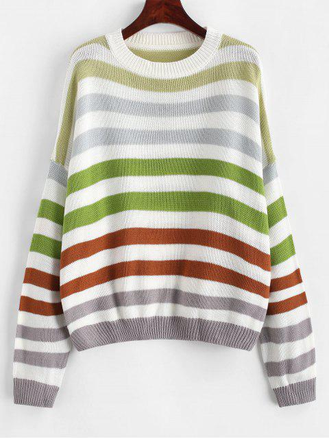 womens Contrast Striped Loose Crew Neck Sweater - COFFEE XL Mobile