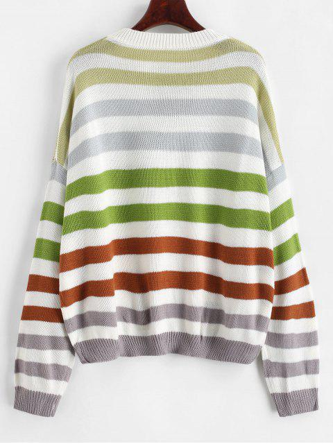 women Contrast Striped Loose Crew Neck Sweater - COFFEE S Mobile