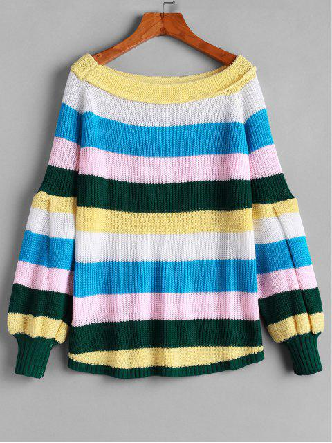outfits Raglan Sleeve Colorful Stripes Pullover Sweater - MULTI-A S Mobile