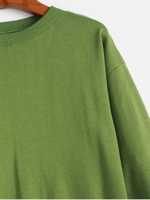 fancy Crew Neck Zig Zag Hem Pullover Sweater - LIGHT GREEN ONE SIZE Mobile