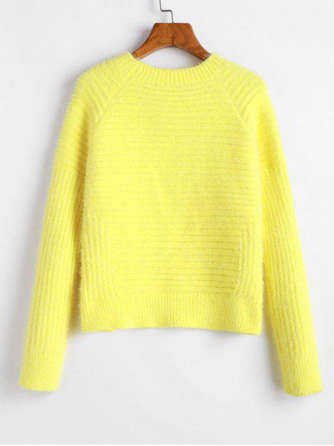 ladies ZAFUL Raglan Sleeves Solid Crop Fluffy Sweater - YELLOW S Mobile