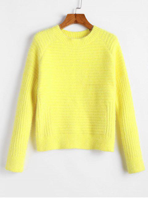 chic ZAFUL Raglan Sleeves Solid Crop Fluffy Sweater - YELLOW L Mobile