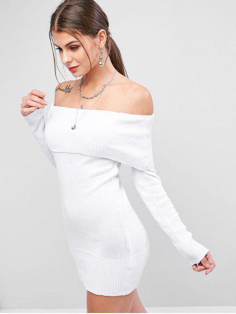 latest Off Shoulder Foldover Slim Jumper Sweater - WHITE ONE SIZE Mobile