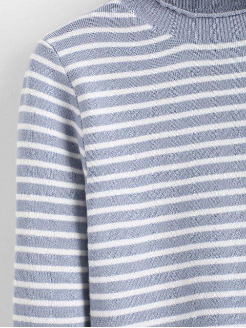 shops Slim Contrast Stripes Pullover Sweater - BLUE ONE SIZE Mobile