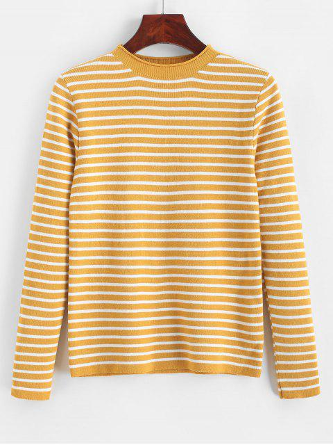 women Slim Contrast Stripes Pullover Sweater - YELLOW ONE SIZE Mobile