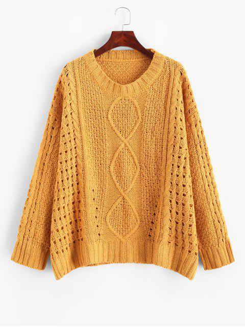 shop Side Slits Solid Open Knit Sweater - SAFFRON XL Mobile