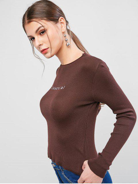 womens Slim Letter Embroidered Pullover Sweater - COFFEE ONE SIZE Mobile