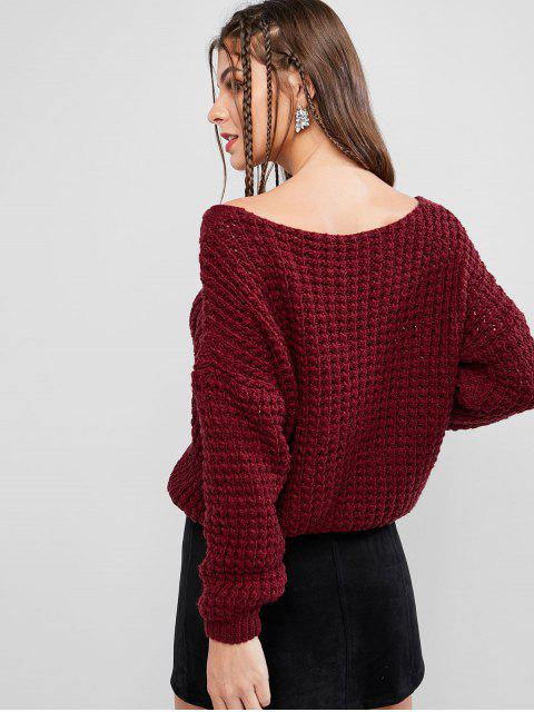 shops Drop Shoulder V Neck Chunky Sweater - RED WINE ONE SIZE Mobile