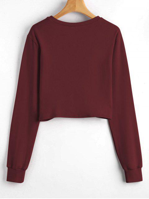 women Heathered Cropped Twist Sweatshirt - RED WINE S Mobile