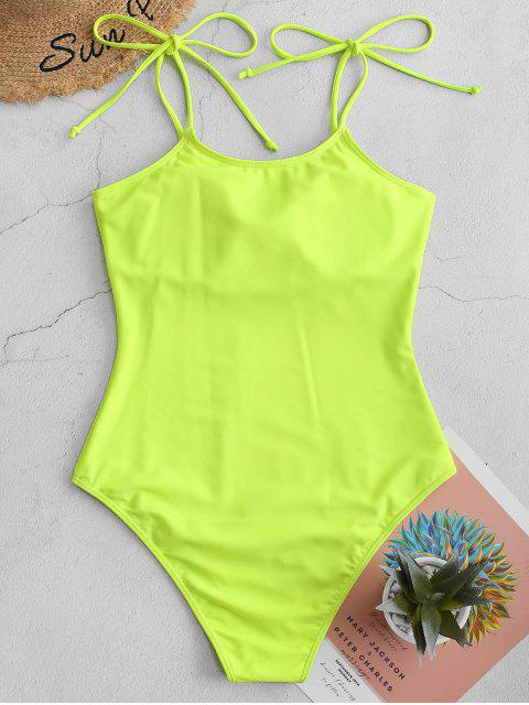 latest ZAFUL Tie Shoulder Plain One-piece Swimsuit - GREEN YELLOW XL Mobile