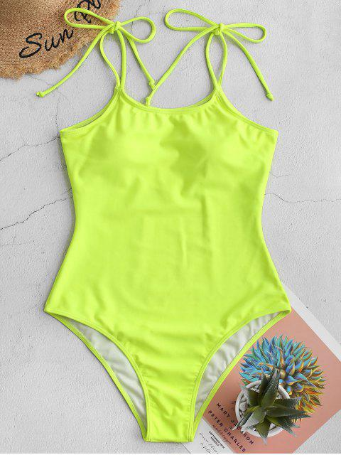 fashion ZAFUL Tie Shoulder Plain One-piece Swimsuit - GREEN YELLOW M Mobile