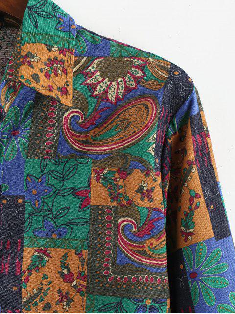 Botón de manga larga camisa de la impresión Hasta africana - Verde de Mar  3XL Mobile