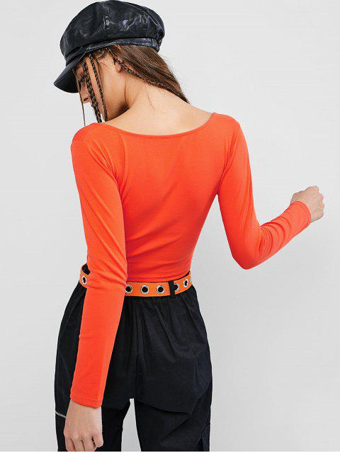 best Basic Scoop Neck Cropped T Shirt - ORANGE M Mobile