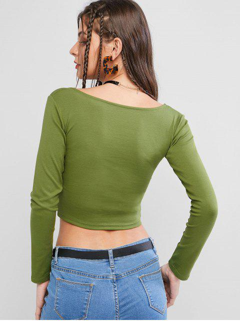 latest Basic Scoop Neck Cropped T Shirt - GREEN M Mobile