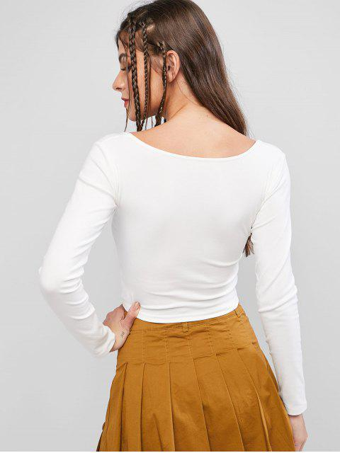 unique Basic Scoop Neck Cropped T Shirt - WHITE M Mobile