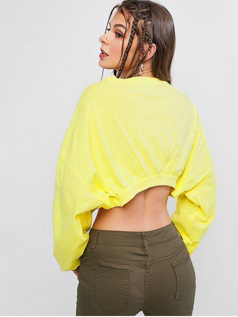 trendy Funny Graphic Batwing Crop Drop Shoulder Sweatshirt - YELLOW ONE SIZE Mobile
