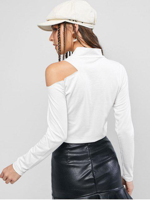 T-Shirt Epaule Dénudée Manches Longues à Col Haut - Blanc XL Mobile