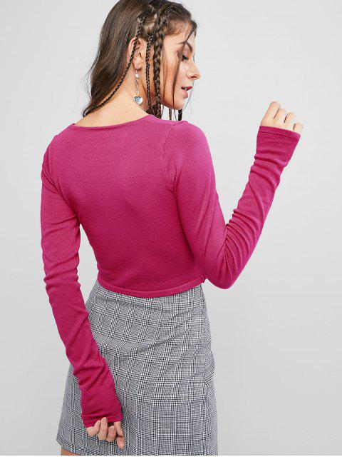 women Long Sleeve Solid Crop Slim Knitted Tee - ROSE RED ONE SIZE Mobile