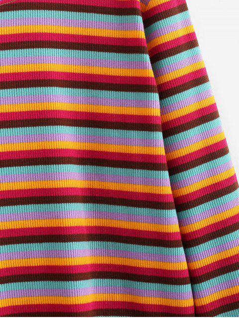 women Cropped Ribbed Rainbow Stripes Tee - MULTI ONE SIZE Mobile